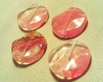 Cherry quartz pendant; chunky, cherry quartz, wavy coin pendant bead, 30x7mm, 1pc/1.80.