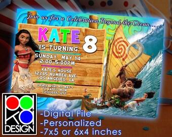 Invitación de Moana Moana cumpleaños, fiesta de cumpleaños de Moana,  invitación cumpleaños Digital, Moana, princesa, Reina, Moana de Disney,  princesa disney
