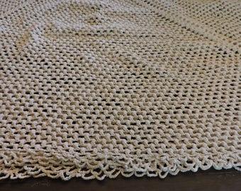 Vintage Handmade Crocheted Tablecloth 1960s Rectangular 40 x 46 Ivory