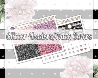 Park Avenue - Glitter Headers and Date Covers -  May Spring Florals Blooms Rose Gold Glitter Pink Mauve Neutrals - 1 Sticker Sheet