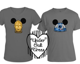 Star Wars C3PO and R2D2 Mickey Ears Disney T Shirt Transfer Decal Image - Perfect for Disneyland Trips - Couples - Groups - Instant Download