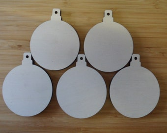 Birch Bauble x 5, 100 mm x 80 mm x6 mm,  Unfinished for Decoration
