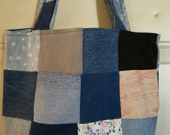 Recycled Denim Patchwork Tote Bag Reclaimed Denim NEW Handmade #201610