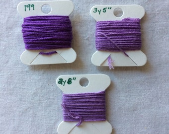Lot of 3 Bobbins of Embroidery Floss in Purples