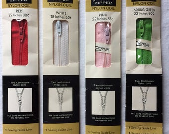 """Your Choice: Vintage New Talon Neckline Zipper 22"""" Nylon Coil in Red, White, Pink, or Spring Green"""
