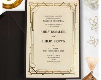 Black And Gold Great Gatsby Art Deco Real Gold Foil Personalized Wedding  Invitation Personalised Day Evening