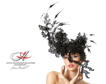 Black Extravagant Fashion designers Fascinator Masquerade Mask Hat, high fashion millinery couture derby fascinator black mask hat