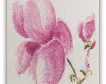 Flower artwork ORIGINAL Miniature Watercolour Painting 'Magnolia' ACEO Floral Pink Flowers Home Decor Gift Idea Wall Art, Free postage