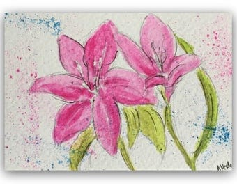 Flower artwork ORIGINAL Miniature Watercolour Painting 'Pink Lilies' ACEO Floral Home Decor Gift Idea Wall Art, Free postage worldwide