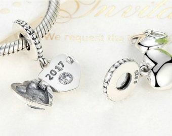 Sterling 925 silver charm love 2017 bead pendant fits Pandora charm and European charm bracelet