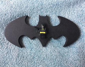 3D Freedstanding Wooden Batman Logo and Lego Figure