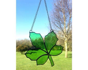 Stained Glass Green Leaf Suncatcher Decoration