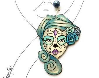 Skull Jewelry for, Dia de Los Muertos Best Friend gift idea, Skeleton Folks, Unique Paper Pendant, Mexican Art, Granddaughter Present,