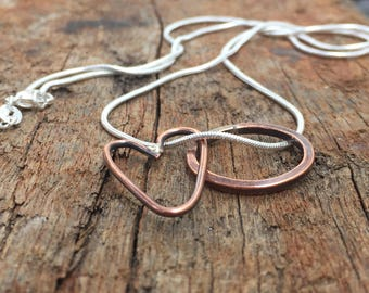 Charm Necklace, Rustic Copper Heart and Hoop Charm on Sterling Silver Chain for Women, Friendship Necklace, Gift for Friend, Sister, Partner