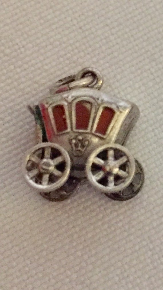 FREE SHIPPING-Vintage-1940's-Sterling Silver-Stage Coach-Carriage-Orange-Enamel-Moving Wheels