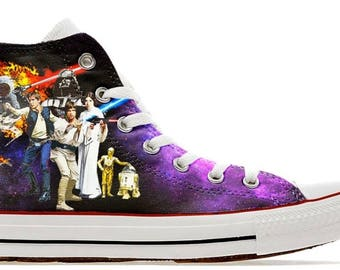 wars in the stars illustration custom converse high top shoes