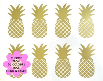 16 4 Inch Removable Pineapple Vinyl Wall Decals, Gold Pineapple Stickers, Nursery Room Decals, Girls Bedroom Decor, Gold Pineapple Wall Art