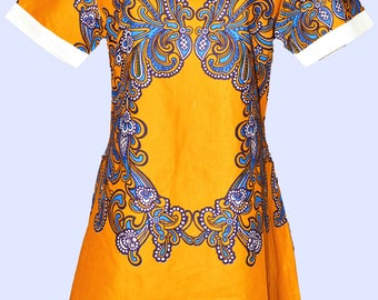 Beautiful floral African print fabric in linen dress