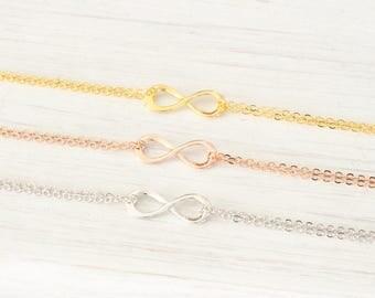Gold, Rose Gold Silver infinity bracelet bridesmaid gift small Eternity Friendship bracelet infinity charm jewelry, Best Friend BFF Bracelet