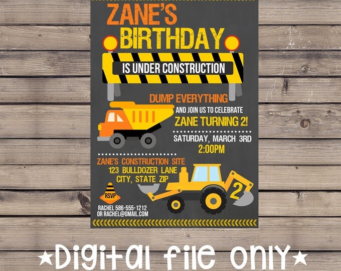 Construction Birthday Invitation / Construction Site Invitation / Construction Invitation / Construction Site Birthday Invitation / Digital