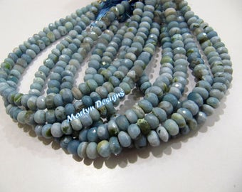 High Quality Natural Blue Opal Beads / Rondelle faceted Beads Size 7-8m /Sold per Strand of 8 Inches Long/ Rare Unique Semi Precious beads