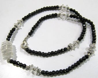 AAA Quality Natural Green Amethyst and Black Spinel Beads Necklace , Silver Oxidize Finding , Handmade Beaded Necklace 17 inch long.