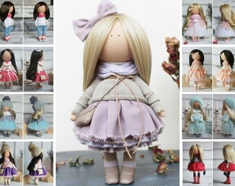 Textile doll Rag doll Fabric doll Nursery doll Unique doll Tilda doll Handmade doll Violet doll Art doll Baby doll Soft doll by Margarita