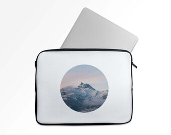 Laptop Case, Snowy Mountain Top in Circle, Sunset, For Macbook etc -  Soft Zippered Laptop Sleeve