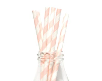 25 Light Pink Striped Paper Straws, White and Light Pink Striped Straws, Retro Straws, Light Pink Party Straws,Birthday Straws,Party Straws.