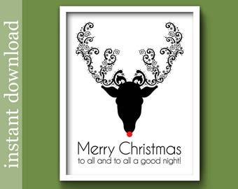 Christmas Printable, Christmas Download, reindeer print, Christmas wall art, minimalist Christmas, black Christmas, Christmas quote, Rudolph
