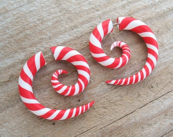 Christmas Candy Earrings, Fake Gauges, Spiral Plugs, Ear Gauges, Fake Plugs, Faux Gauge Earrings, Spiral Gauges, Ear Plugs, Disney Earrings