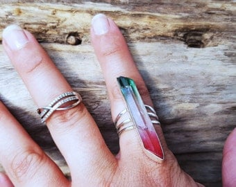 Ring with tourmaline in Sterling Silver Crystal
