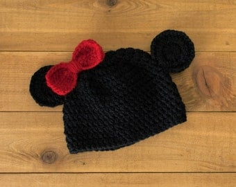 Crocheted Minnie Mouse Hat-- Newborn to 3 Months