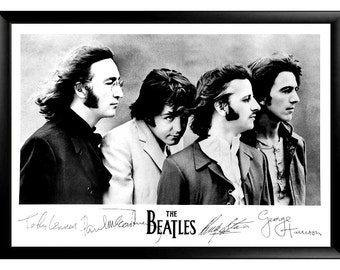 The Beatles poster framed with their copied signatures 36x24, signed