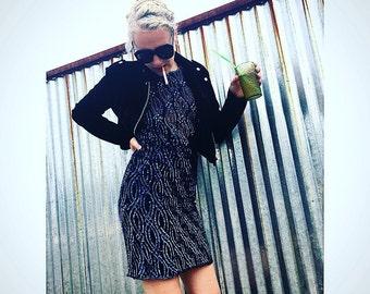 Vintage sequin dark blue beaded dress, vintage dress, beaded flapper dress, vintage beads, vintage 1920s dress, titanic clothing, vintage