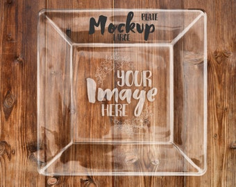 Large square glass plate mockup template | Add your own background | Etched glass mockup