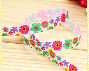 M2BM Grosgrain Ribbon - 3/8 Inch 9 mm - Flowers Print by the Metre