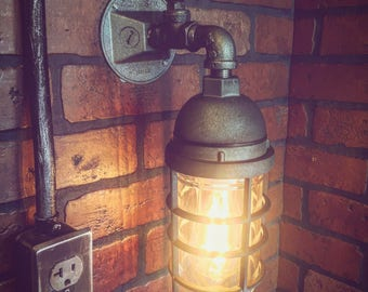 Industrial Steampunk Wall Sconce Cage Light with operational valve Switch