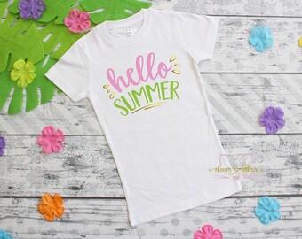 Summer Girls Outfit - Hello Summer Girls - Summer T-Shirt - Summer Girls Shirt - Girls Tee - Girls T-Shirt - First Summer - Beach Girl