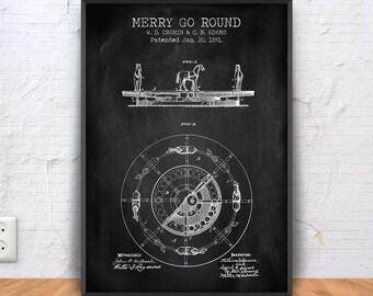 MERRY GO ROUND patent print, merry go round poster, merry go round blueprint, merry go round illustration, #1284