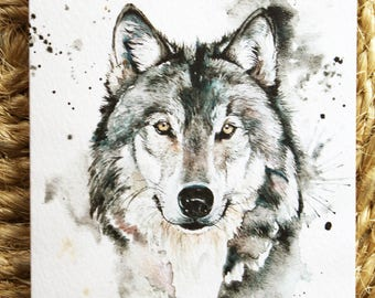Watercolour Wolf Print Greetings Card