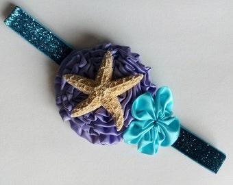 Mermaid Starfish Headband with Purple & Turquoise Flowers and a Sparkling Band | Mermaid Headband | Mermaid Headbands | Mermaid | Birthday