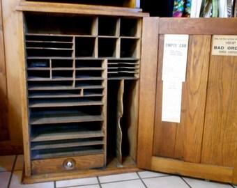 Antique Railroad Ticket Agent Cabinet, Railway Ticket Oak Cabinet Desk Cubbyhole Cabinet, RR Memorabilia, Antique Apothecary