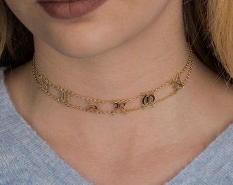 Name choker, Kim Kardashian style Old english font name choker 925 sterling silver choker personalized necklace