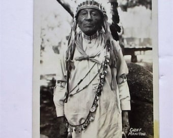 Antique 1910s RPPC Chief Manitou Native American Indian Postcard Headdress B&W Photo Black and White Picture