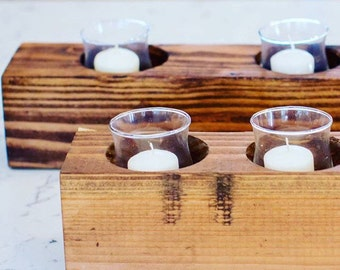 rustic four hole farmhouse wooden candle holder