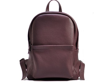 Wine leather backpack, leather backpack woman, leather bag, leather rucksack, leather backpack for women - Carbon