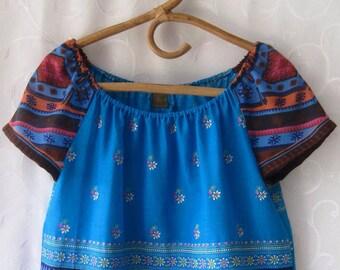 Turquise Indian cotton blouse, off shoulder cotton blouse.