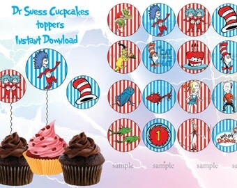 INSTANT DOWNLOAD-Dr Seuss cupcake toppers.   Dr. Seuss, Cat in the Hat, Dr. Seuss party, Dr Suess birthday