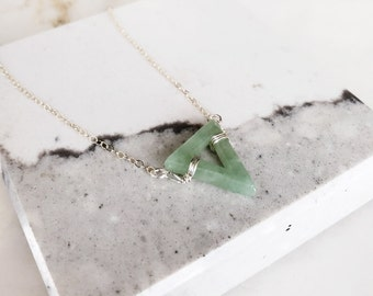 Triangle Jade bead Pendant Necklace, Triangle green jade charm , Silver flow, green jade choker necklace, edge necklace